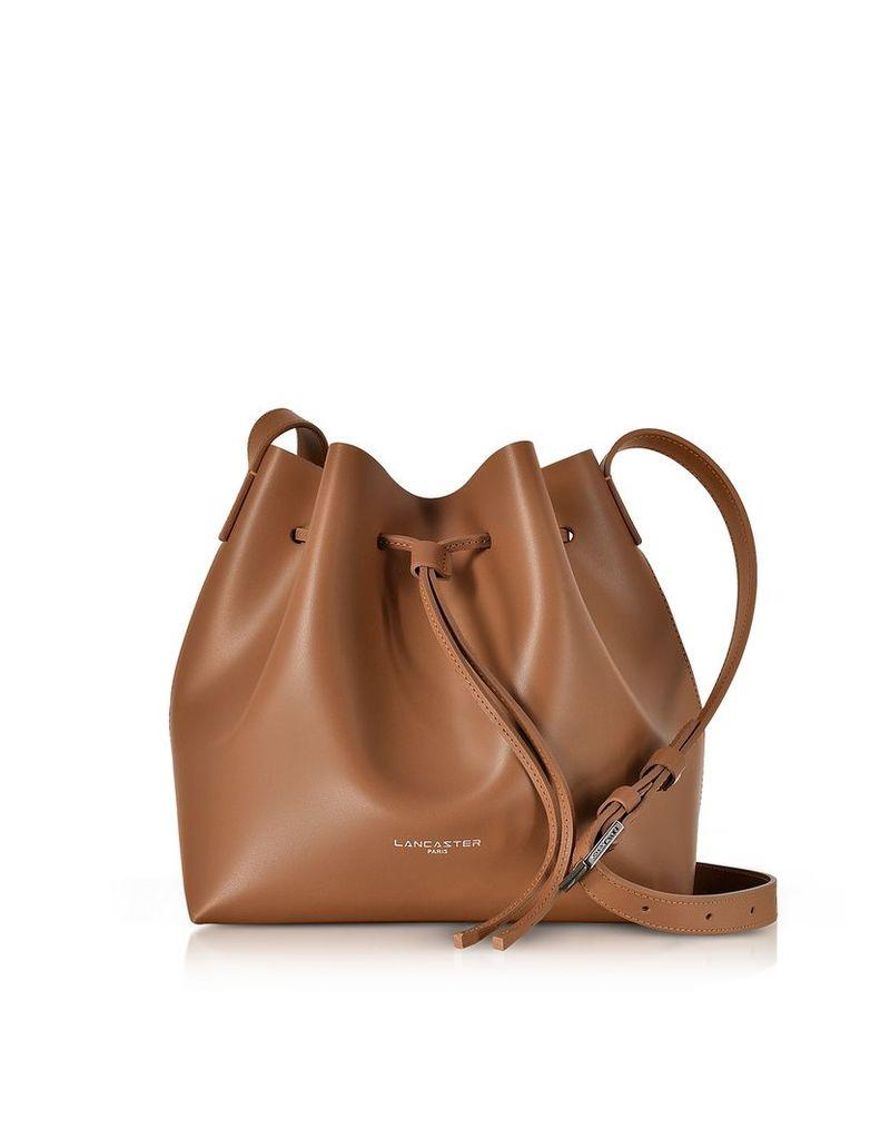 Lancaster Paris Designer Handbags, Pur & Element Smooth Leather Small Bucket Bag