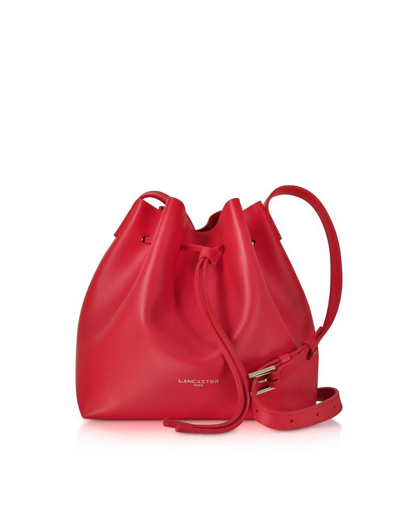Lancaster Paris Designer Handbags, Pur & Element Smooth Leather Small Bucket Bag