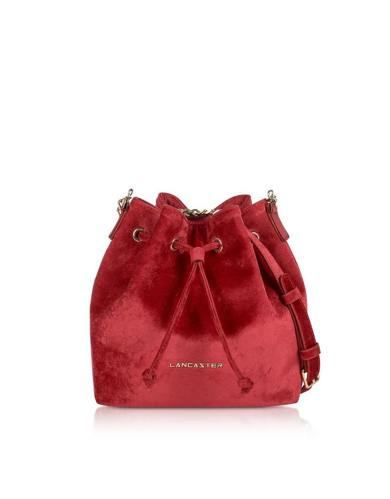 Lancaster Paris Designer Handbags, Velvet Small Bucket Bag