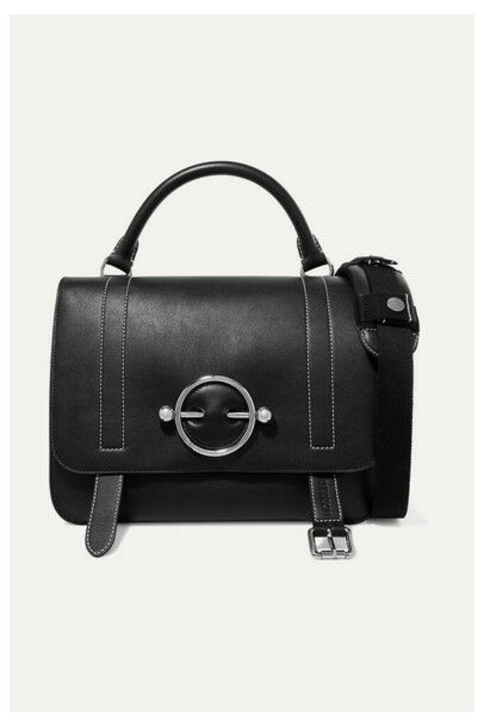 JW Anderson - Disc Leather And Suede Shoulder Bag - Black