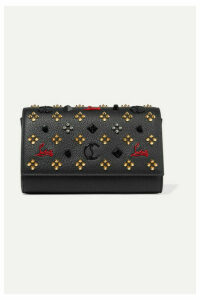 Christian Louboutin - Paloma Embellished Textured-leather Clutch - Black