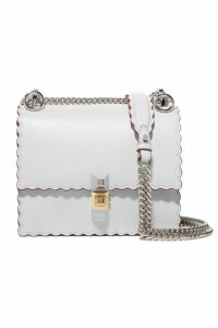 Fendi - Kan I Mini Scalloped Leather Shoulder Bag - Light gray