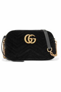 Gucci - Gg Marmont Small Leather-trimmed Quilted Velvet Shoulder Bag - Black