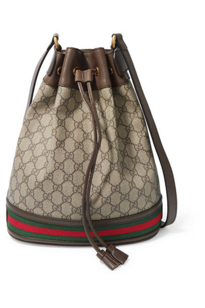 Gucci - Ophidia Textured Leather-trimmed Printed Coated-canvas Bucket Bag - Beige