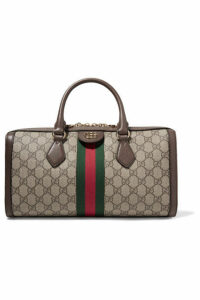 Gucci - Ophidia Textured Leather-trimmed Printed Coated-canvas Tote - Beige