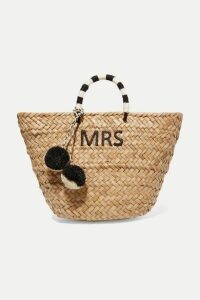 Kayu - St Tropez Pompom-embellished Embroidered Woven Straw Tote - Neutral
