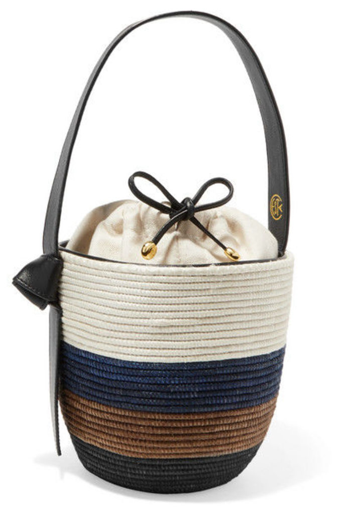 Cesta Collective - Lunchpail Leather-trimmed Woven Sisal Bucket Bag - White