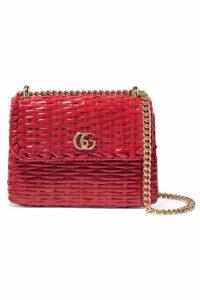 Gucci - Mini Coated-wicker Shoulder Bag - Red