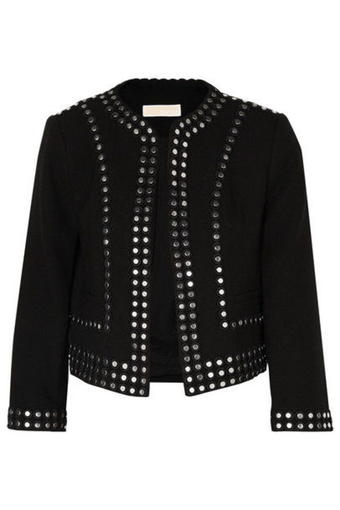 MICHAEL Michael Kors - Cropped Studded Crepe Jacket - Black