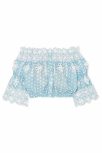 Miguelina - Renee Off-the-shoulder Broderie Anglaise-trimmed Polka-dot Cotton Top - Light blue