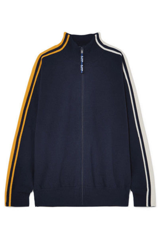 SJYP - Striped Knitted Track Jacket - Navy