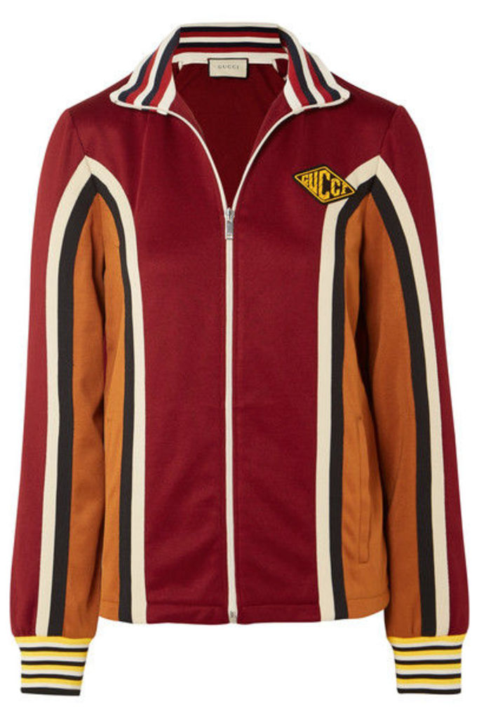 Gucci - Striped Stretch-jersey Track Jacket - Burgundy