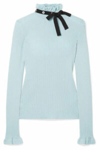 REDValentino - Grosgrain-trimmed Wool Sweater - Sky blue