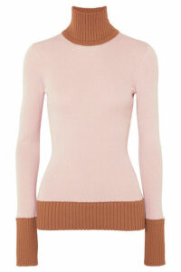 Victoria Beckham - Two-tone Ribbed Wool-blend Turtleneck Sweater - Pink