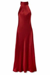 Galvan - Sienna Silk-satin Halterneck Gown - Merlot