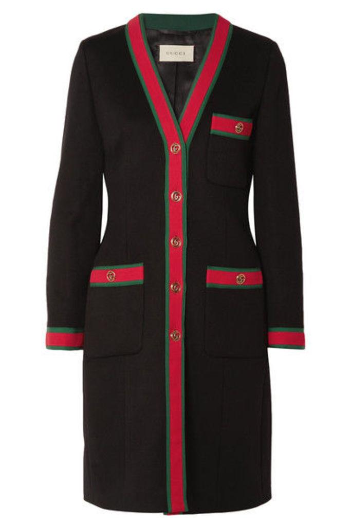 Gucci - Grosgrain-trimmed Wool Coat - Black