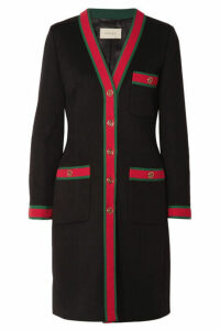 Gucci - Grosgrain-trimmed Wool Coat - Black