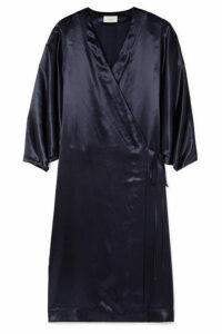 The Row - Impu Satin Wrap Coat - Indigo