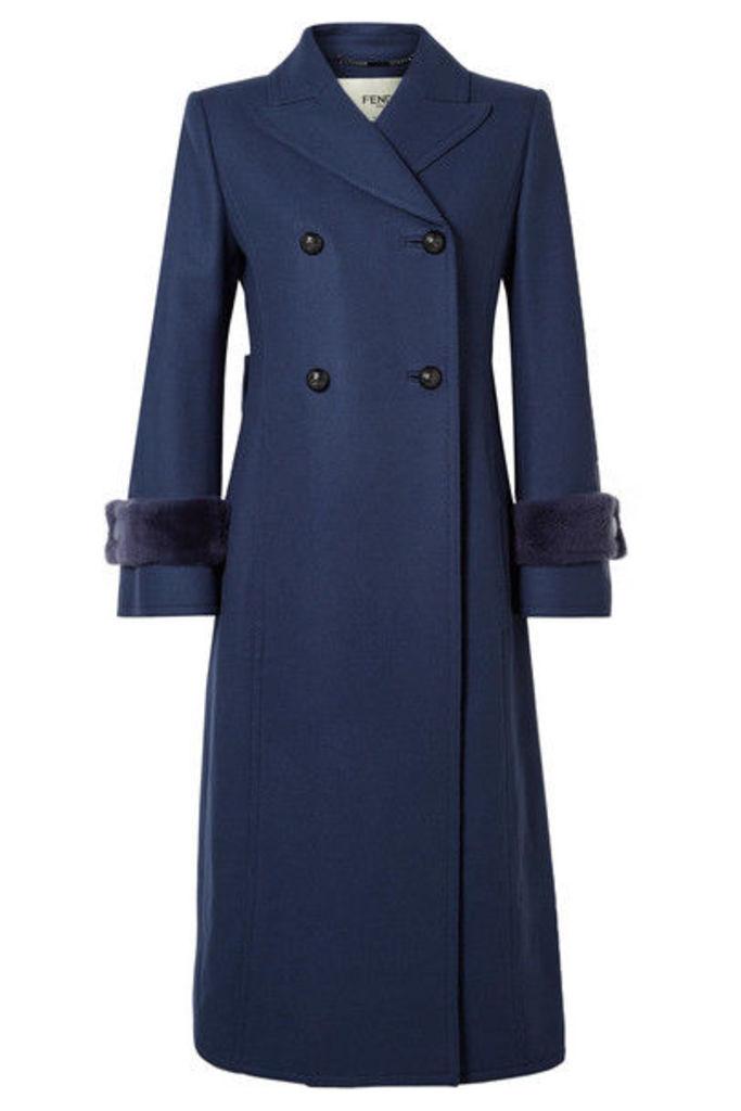 Fendi - Faux Fur-trimmed Wool-blend Coat - Blue