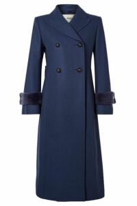 Fendi - Faux Fur-trimmed Wool-blend Coat - Blue