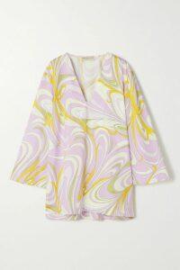 Self-Portrait - Chain-trimmed Swiss-dot Chiffon Maxi Dress - Fuchsia