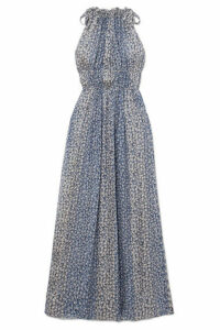 Ulla Johnson - Augustine Floral-print Plissé Silk-blend Gauze Maxi Dress - Blue