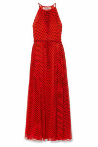 Diane von Furstenberg - Polka-dot Crinkled Silk-chiffon Maxi Dress - Red