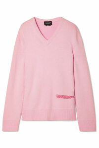 CALVIN KLEIN 205W39NYC - Embroidered Wool And Cotton-blend Sweater - Baby pink
