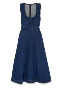Co - Belted Ruffle-trimmed Denim Midi Dress - Indigo