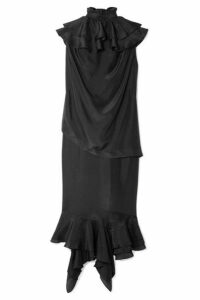 JW Anderson - Ruffled Silk Midi Dress - Black