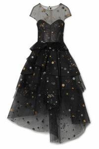 Monique Lhuillier - Asymmetric Tiered Glittered Tulle Midi Dress - Black