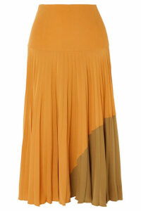 Fendi - Plissé Silk Crepe De Chine Midi Skirt - Yellow