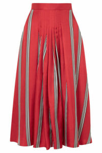 Roksanda - Thaki Pleated Striped Silk-twill Midi Skirt - Tomato red