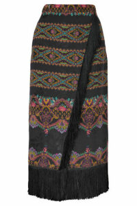 Etro - Wrap-effect Fringed Printed Jacquard Midi Skirt - Black
