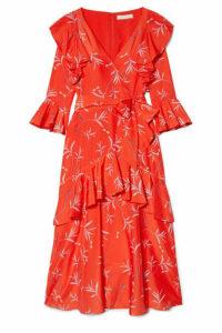 Borgo De Nor - Aiana Ruffled Printed Crepe De Chine Midi Dress - Red