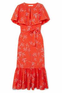 Borgo De Nor - Margarita Cape-effect Floral-print Crepe Maxi Dress - Red