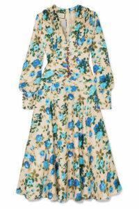 Gucci - Floral-print Silk-twill Midi Dress - Blue