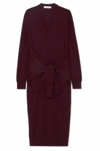 Chloé - Tie-front Wool Midi Dress - Burgundy