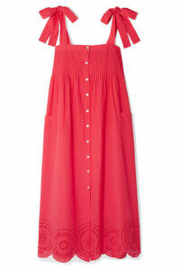 HATCH - Sylvie Broderie Anglaise Cotton-voile Midi Dress - Red