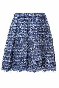 Proenza Schouler - Fringed Printed Crepe Mini Skirt - Blue
