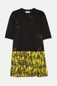 Prada - Pleated Printed Crepe De Chine Mini Dress - Black