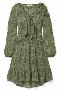 MICHAEL Michael Kors - Ruffled Printed Chiffon Mini Dress - Green
