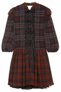 Philosophy di Lorenzo Serafini - Bow-detailed Tartan Chiffon Mini Dress - Red