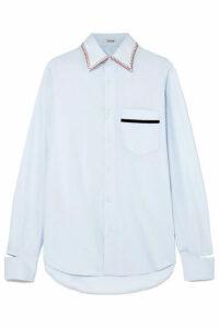 BLOUSE - Barry Embroidered Velvet-trimmed Cotton-poplin Shirt - Light blue