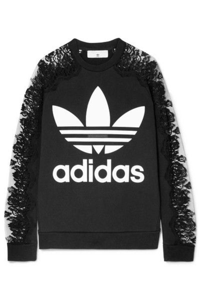 Stella McCartney - + Adidas Lace-paneled Printed Cotton-jersey Sweatshirt - Black