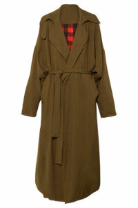 Preen by Thornton Bregazzi - Lana Oversized Reversible Twill Coat - Army green