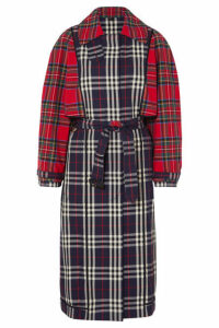 Burberry - Patchwork Checked Cotton Trench Coat - Navy