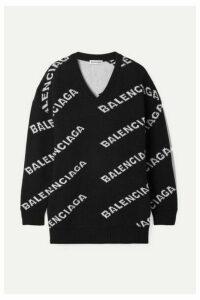 Balenciaga - Oversized Intarsia Wool-blend Sweater - Black