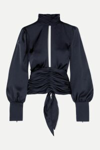 Preen Line - Eva Asymmetric Printed Crepe De Chine Midi Skirt - Blue