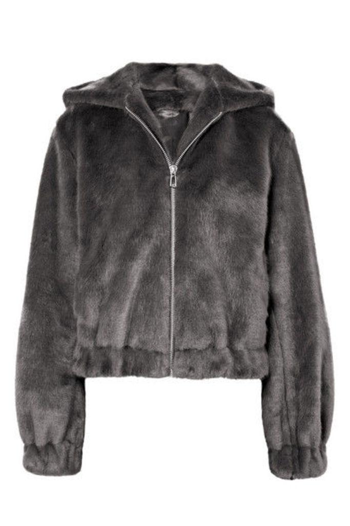 Helmut Lang - Hooded Faux Fur Bomber Jacket - Gray